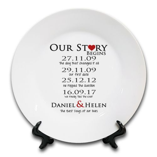 Personalised Our Love Story Begins Novelty Ceramic Plate
